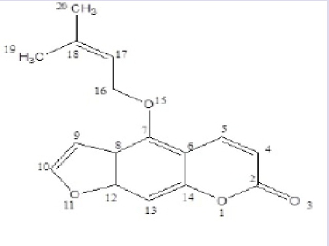 Chemical structure of Isoimperatorin