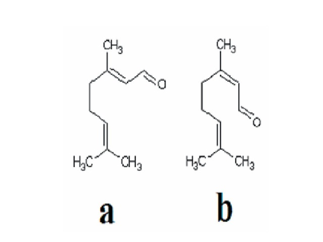 The chemical structures of (a) neral (α-citral) and (b) geranial (β-citral), the major oil components of B. citriodora leaf essential oils.