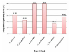 Fungal susceptibility index (FSI) of tested fungi towards various extracts of three medicinal plants,