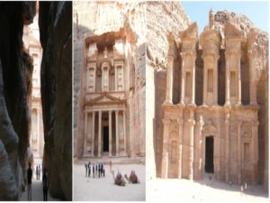 The Siq with a view of the Treasury at the end; Al Khazneh (The Treasury); Al Dier (The Monastry).